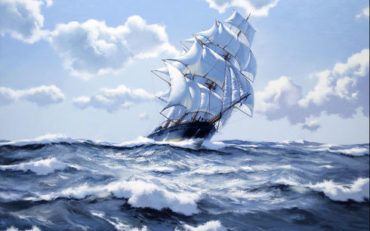 Cleaving the Seas - The 'Staghound' by James Brereton. Oil on Canvas. 40 x 50 inches. Burlington.