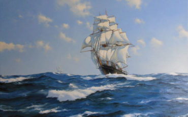 The 'Chrysolite' Racing Home by James Brereton. Oil on canvas. 24 x 36 inches. SOLD 2018 Bonhams.