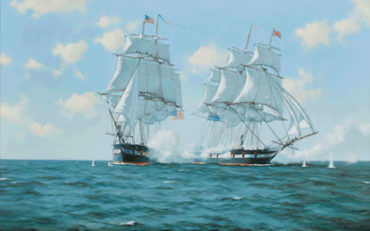 The Action Between the frigates U.S.S. 'Chesapeake' & H.M.S. 'Shannon', Boston, 1st June 1813 by James Brereton. Oil on canvas. 26 x 40 inches. Richard Joslin Fine Art.
