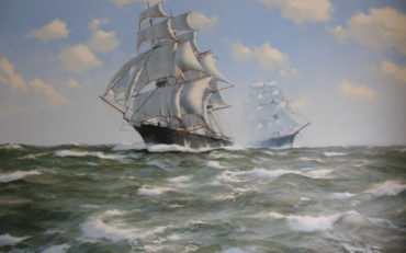 The Clipper 'Fychow' in Company by James Brereton. Oil on canvas. 30 x 40 inches. Richard Joslin Fine Art.